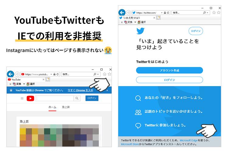 IEでYouTubeやTwitterにアクセスしたときのスクリーンショット